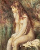 Young Girl Bathing Cross Stitch Pattern - Pierre-Auguste Renoir