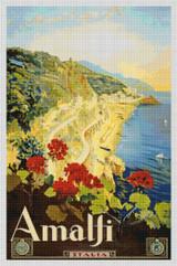 Amalfi Travel Poster Cross Stitch Pattern