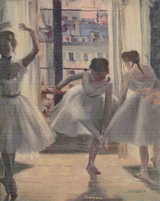 Three Dancers in an Exercise Hall Cross Stitch Chart - Edgar Degas
