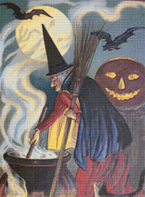 Witch with Cauldron and Moon Cross Stitch Pattern
