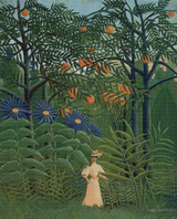 Woman Walking in an Exotic Forest Cross Stitch Pattern - Henri Rousseau