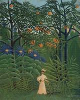 Woman Walking in an Exotic Forest Cross Stitch Pattern - Henri Rousseau