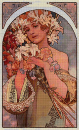 Flower Cross Stitch Chart - Alfons Mucha