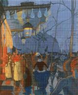 Avenue de Clichy, Le Soir, Cinq Heures Cross Stitch Pattern - Louis Anquetin