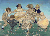 Round the Ring of Roses Cross Stitch Pattern - Jessie Willcox Smith
