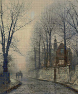 November Moonlight Cross Stitch Pattern - John Atkinson Grimshaw
