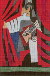 Punchinello with Guitar Cross Stitch Pattern - Pablo Picasso