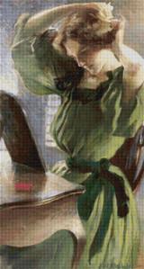 Young Woman Arranging Her Hair Cross Stitch Pattern - John White Alexander