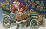 Santa Delivering Gifts by Car Cross Stitch Pattern