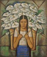 Calla Lily Vendor Cross Stitch Pattern - Alfredo Ramos Martinez