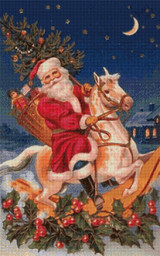 Santa on a Rocking Horse Cross Stitch Pattern