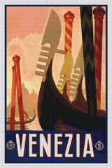 Venezia Travel Poster Cross Stitch Pattern