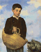 Boy with Dog Cross Stitch Chart - Edouard Manet