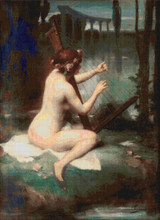 The Harp Player Cross Stitch Pattern - Henri Adrien Tanoux