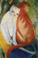 Cats, Red and White Cross Stitch Pattern - Franz Marc