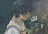 Italian Girl with Flowers Cross Stitch Pattern - Joaquin Sorolla y Bastida