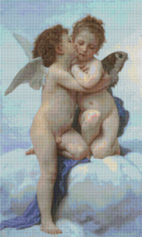 Cupid and Pysche as Children Cross Stitch Pattern - William Bouguereau