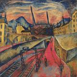 Urban Landscape with Tracks and Stacks Cross Stitch Pattern - Ignaz Epper