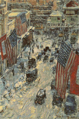 Flags on 57th Street, Winter Cross Stitch Chart - Frederick Childe Hassam