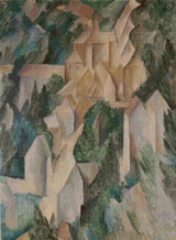 The Chateau at La Roche-Guyon Cross Stitch Pattern - George Braque