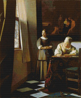 Lady Writing a Letter with Her Maid Cross Stitch Pattern - Johannes Vermeer