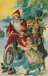 Santa on Bicycle Delivering Gifts Cross Stitch Pattern