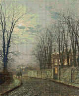 A Wintry Moon Cross Stitch Pattern - John Atkinson Grimshaw