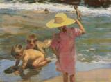 Children on the Seashore Cross Stitch Pattern - Joaquin Sorolla y Bastida