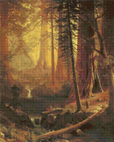 Giant Redwood Trees of California Cross Stitch Pattern - Albert Bierstadt