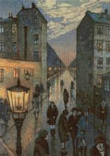Corner of the Big City Cross Stitch Pattern - Hans Baluschek