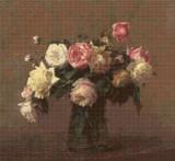 Bouquet of Roses Cross Stitch Pattern - Henri Fantin-Latour
