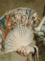 Lady with an Ivory Fan - Detail Cross Stitch Pattern - Frank Dicksee