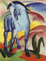 Blue Horse I Cross Stitch Chart - Franz Marc