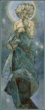 Moonlight Cross Stitch Pattern - Alfons Mucha