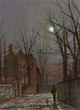 Au Claire de Lune Cross Stitch Pattern - John Atkinson Grimshaw