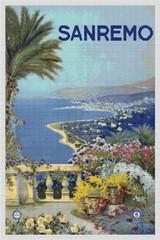 San Remo Travel Poster Cross Stitch Pattern