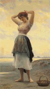 On the Beach Cross Stitch Pattern - Eugene de Blaas