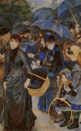 The Umbrellas Cross Stitch Pattern - Pierre-Auguste Renoir