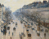 The Boulevard Montmartre on a Winter Morning Cross Stitch Chart - Camille Pissarro