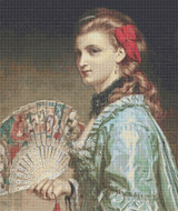 Lady with an Ivory Fan Cross Stitch Pattern - Frank Dicksee