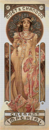Moet & Chandon Cremant Imperial Cross Stitch Chart - Alfons Mucha