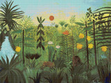 Exotic Landscape with Lion and Lioness in Africa Cross Stitch Pattern - Henri Rousseau