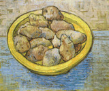 Potatoes in a Yellow Dish Cross Stitch Pattern - Vincent van Gogh