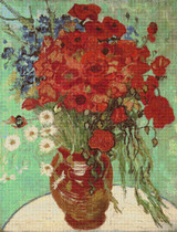 Red Poppies and Daisies Cross Stitch Pattern - Vincent van Gogh