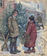 Christmas Tree Sale Cross Stitch Pattern - Hans Baluschek