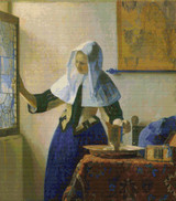 Young Woman with a Water Pitcher Cross Stitch Chart - Johannes Vermeer