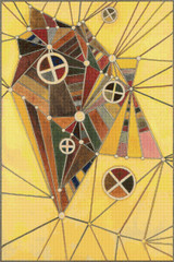 In the Network Cross Stitch Pattern - Wassily Kandinsky