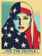 We the People - Are Greater than Fear Cross Stitch Pattern - Shepard Fairey