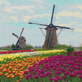 Two Dutch Windmills Cross Stitch Pattern