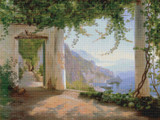View to the Amalfi Coast Cross Stitch Pattern - Carl Frederic Aagaard